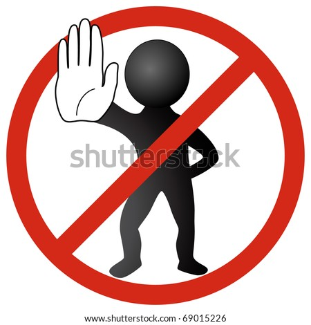 White MAN showing STOP with hand in a red stop circle. VECTOR