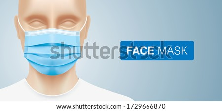 White man wearing a disposable surgical face mask. Close up shot of a caucasian person with corona virus protective 3 ply medical mask. Disease protection equipment vector background with copy space.