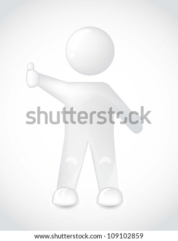 white man with thumb up over gray backgroud. vector illustration
