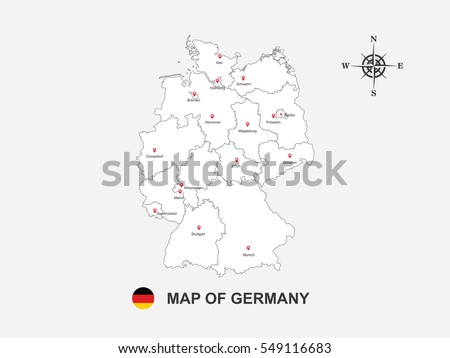 white map of germany on gray