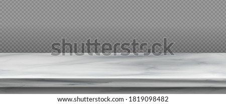 White marble table top, stone display stand. Vector realistic mockup of empty shelf, kitchen countertop isolated on transparent background. Bar desk surface in foreground Stock photo ©