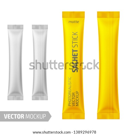 White matte sachet stick. Photo-realistic packaging mockup template with sample design. Vector 3d illustration.