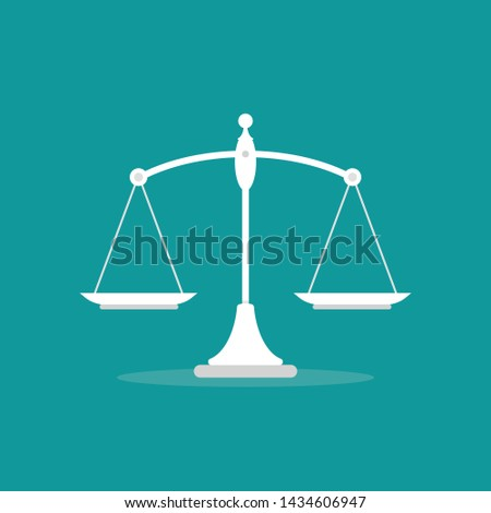 White mechanical scales balance icon isolated on blue.  Justice, law scale. Vector illustration.