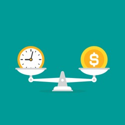White mechanical scales with dollar coin and clock in pans.  Time and money balance. Justice, law scale. Vector illustration on blue background.