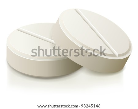 White medical pills illustration.