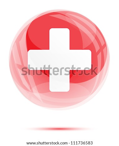White medical sign in the red glossy glass sphere