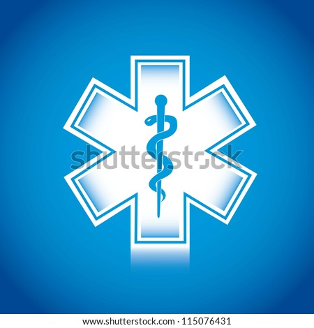 white medical sign over blue background, caduceus. vector illustration