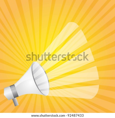 white megaphone over yellow background. vector illustration
