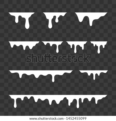 White melt drips, milk or liquid paint drops. Vector graffiti drip splatter splash or yogurt syrup leak drop borders