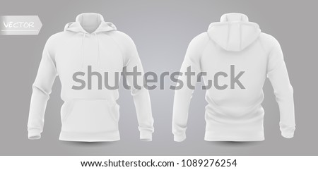 White men's hooded sweatshirt mockup in front, back, isolated on a gray background. 3D realistic vector illustration, pattern formal or casual sweatshirt.