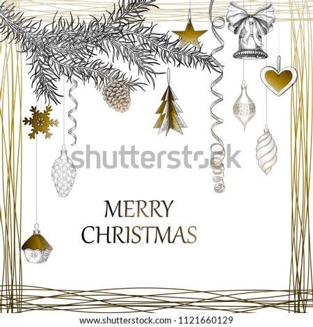 White Merry Christmas background with fir branch and gold decor. Vector paper illustration.