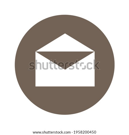 White message icon in dark brown circle. Message icon for office, poster, web design, banner, business, etc.