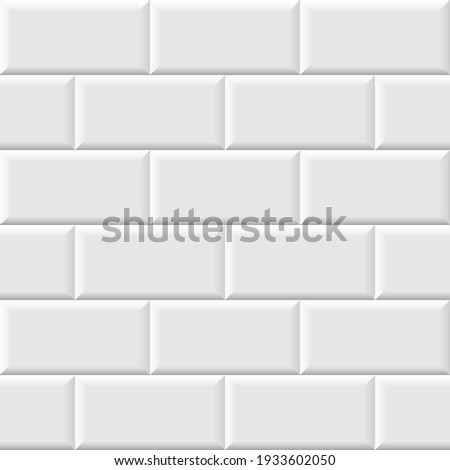 White metro tiles seamless background. Subway brick pattern for kitchen, bathroom or outdoor architecture vector illustration. Glossy building interior design tiled material.