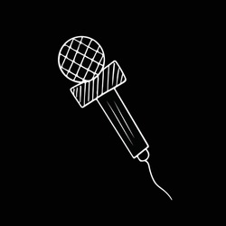 White microphone isolated on black background. Karaoke cartoon studio line art record radio music speaker. Electronic acoustic audio podcast vocal sound. Media speech mike.