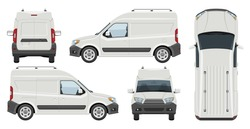 White minivan vector template with simple colors without gradients and effects. View from side, front, back, and top