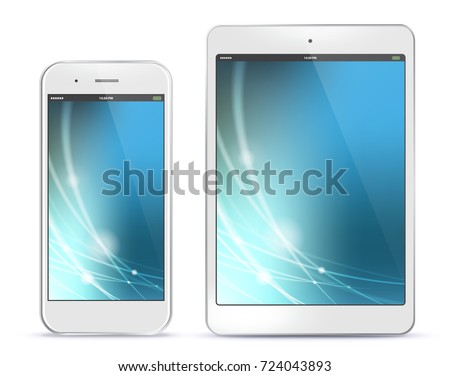 White Mobile Phone and Tablet Computer Vector illustration With Blue Technology Screen.