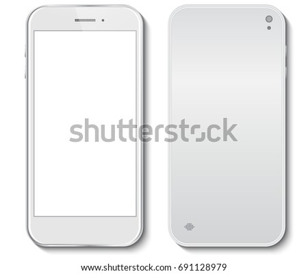 White Mobile Phone front and back side vector illustration