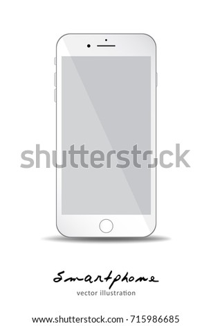 white Mobile phone with empty Gray screen to present your application, design. Vector illustration. for printing, web element, Game demo and application mockup.