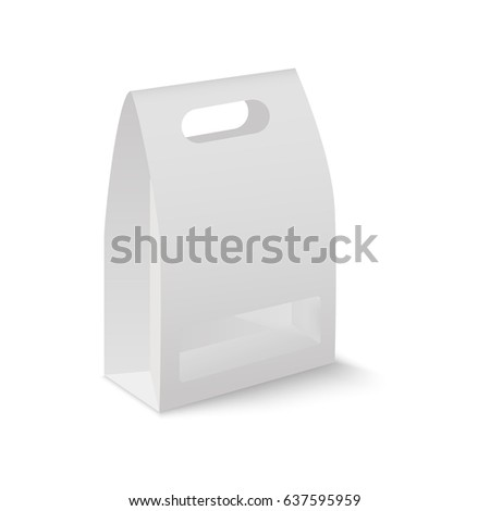 White Cardboard Carry Box Bag Packaging… Stock Photo