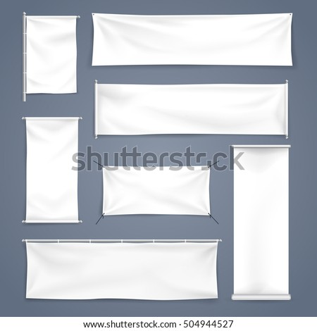 White mock up textile and roll up banner with folds, Vector Illustration #504944527