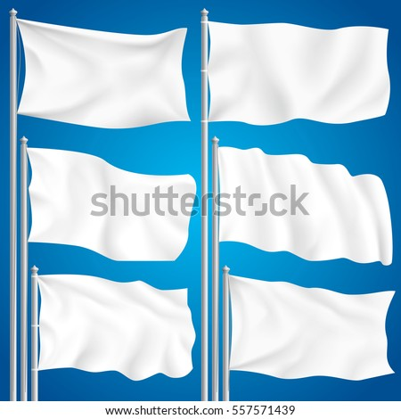 White mock up textile waving empty flag isolated vector illustration