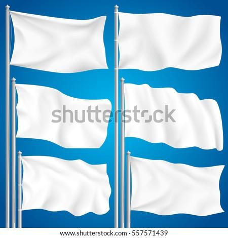 White mock up textile waving empty flag isolated vector illustration