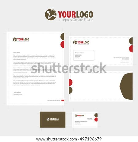 White modern  corporate stationery template design