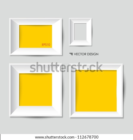 White modern frames on the wall, vector illustration.