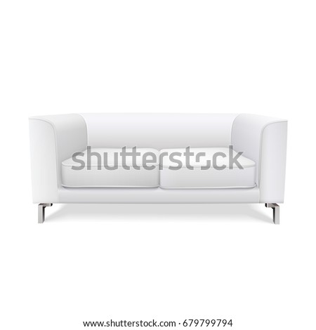white modern sofa isolated on