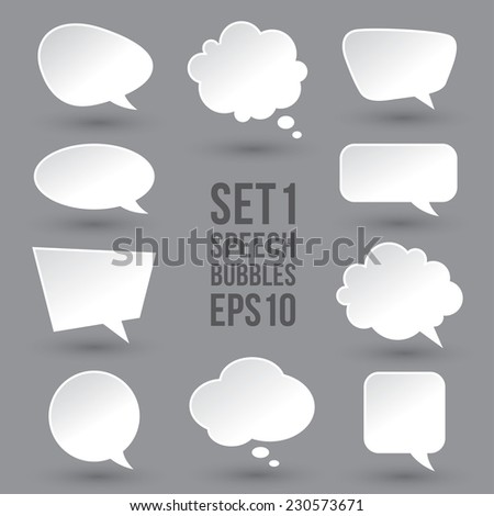 white modern speech bubbles set