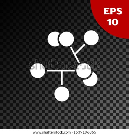 White Molecule icon isolated on transparent dark background. Structure of molecules in chemistry, science teachers innovative educational poster.  Vector Illustration
