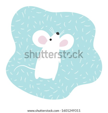 white mouse on blue background