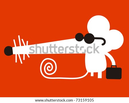 White mouse with sunglasses and briefcase