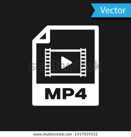 White MP4 file document icon. Download mp4 button icon isolated on black background. MP4 file symbol. Vector Illustration