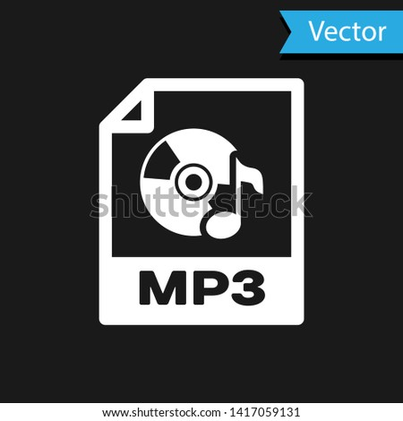 White MP3 file document icon. Download mp3 button icon isolated on black background. Mp3 music format sign. MP3 file symbol. Vector Illustration