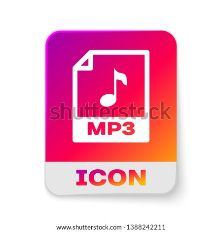 White MP3 file document icon. Download mp3 button icon isolated on white background. Mp3 music format sign. MP3 file symbol. Rectangle color button. Vector Illustration