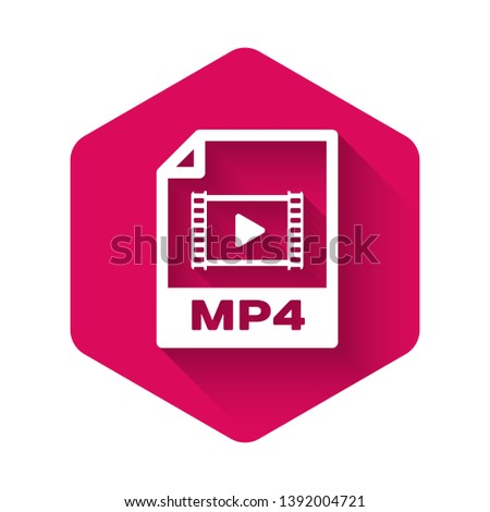 White MP4 file document icon. Download mp4 button icon isolated with long shadow. MP4 file symbol. Pink hexagon button. Vector Illustration