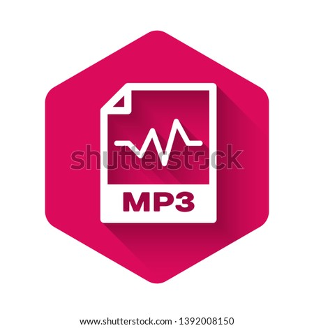 White MP3 file document icon. Download mp3 button icon isolated with long shadow. Mp3 music format sign. MP3 file symbol. Pink hexagon button. Vector Illustration