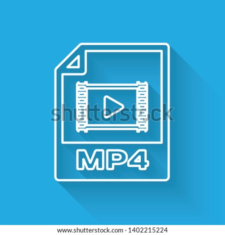 White MP4 file document icon. Download mp4 button line icon isolated with long shadow. MP4 file symbol. Vector Illustration