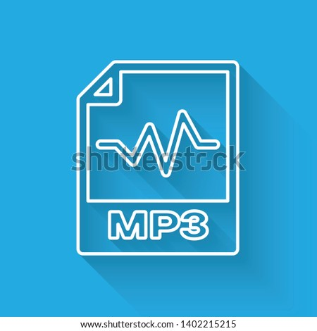 White MP3 file document icon. Download mp3 button line icon isolated with long shadow. Mp3 music format sign. MP3 file symbol. Vector Illustration
