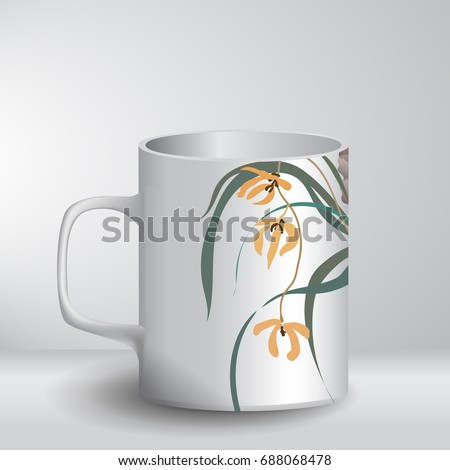 white mug template with a print
