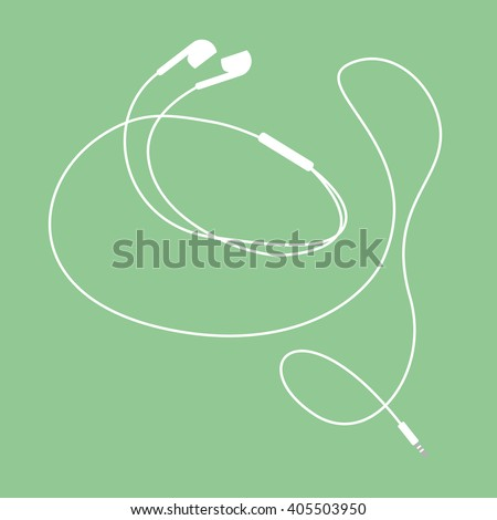White music earphones with connector on turqoise background. vector and illustration design.