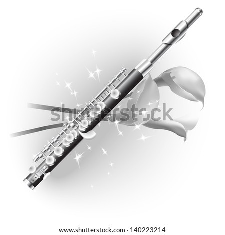 White musical background series. Classical  piccolo flute, isolated on white background with flowers. Vector illustration