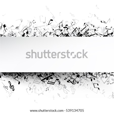 White musical background with black notes. Vector paper illustration.