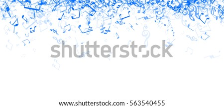 White musical banner with blue notes. Vector paper illustration.