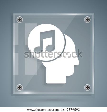 White Musical note in human head icon isolated on grey background. Square glass panels. Vector Illustration