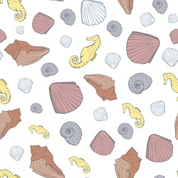 White Nautical, Scattered seamless pattern background featuring realistic clam shells and yellow seahorses. Modern beach theme suitable for accessories, apparel, home decor and stationery.
