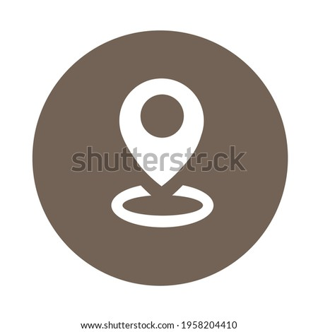 White navigation icon in dark brown circle. Map pointer icon for office, map, poster, web design, banner, business, etc.