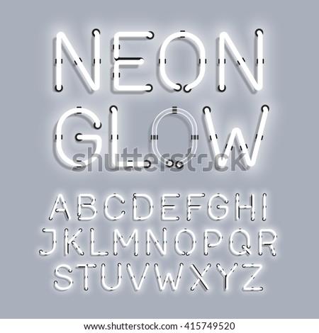 white neon glow alphabet vector