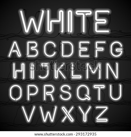 white neon light alphabet with